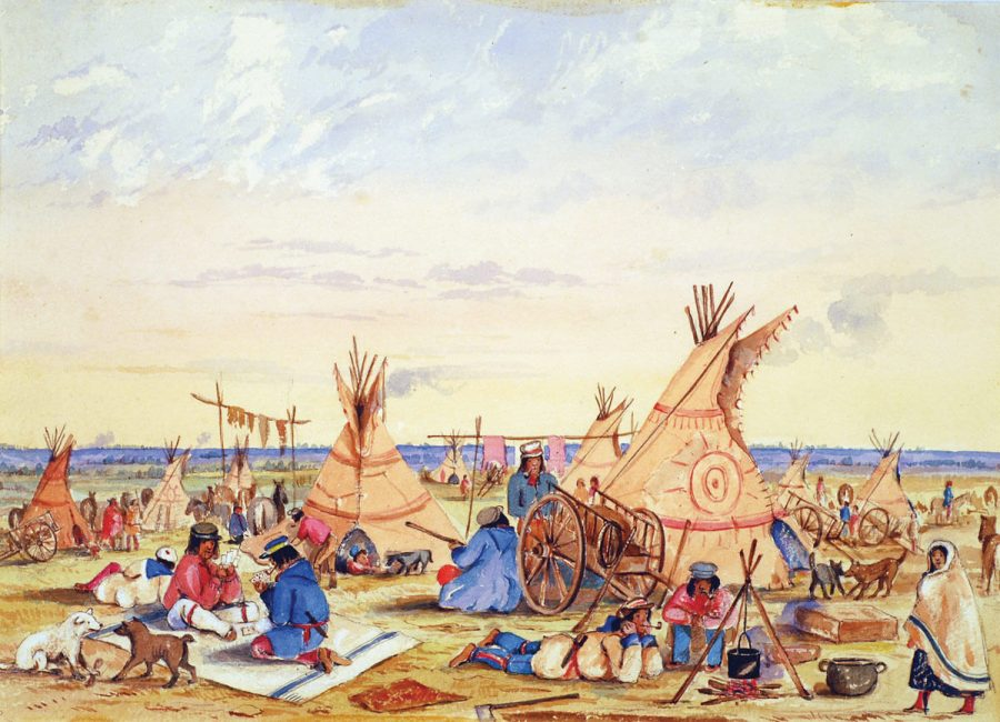 A painting of a Métis camp