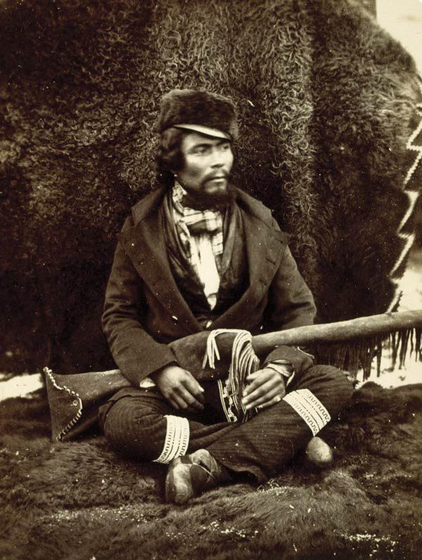 A Saulteaux Métis in an archival image, circa 1858
