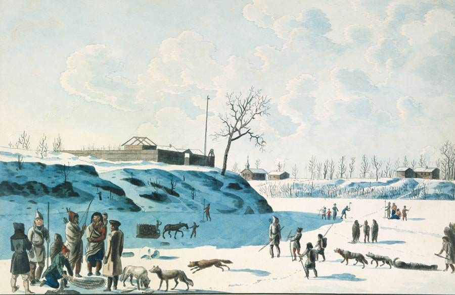 People stand atop the frozen forks of Manitoba's Red and Assiniboine rivers in the year 1821