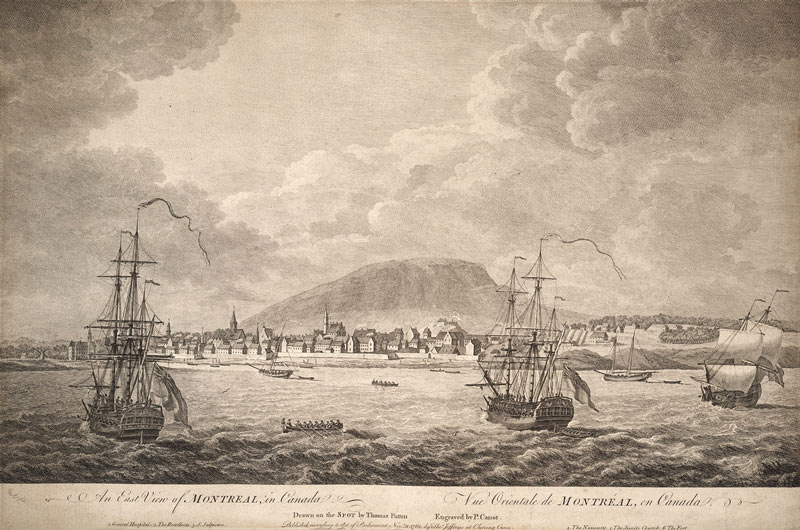 A sketch by Thomas Patten of Montreal in its fur-trade heyday, circa 1762.
