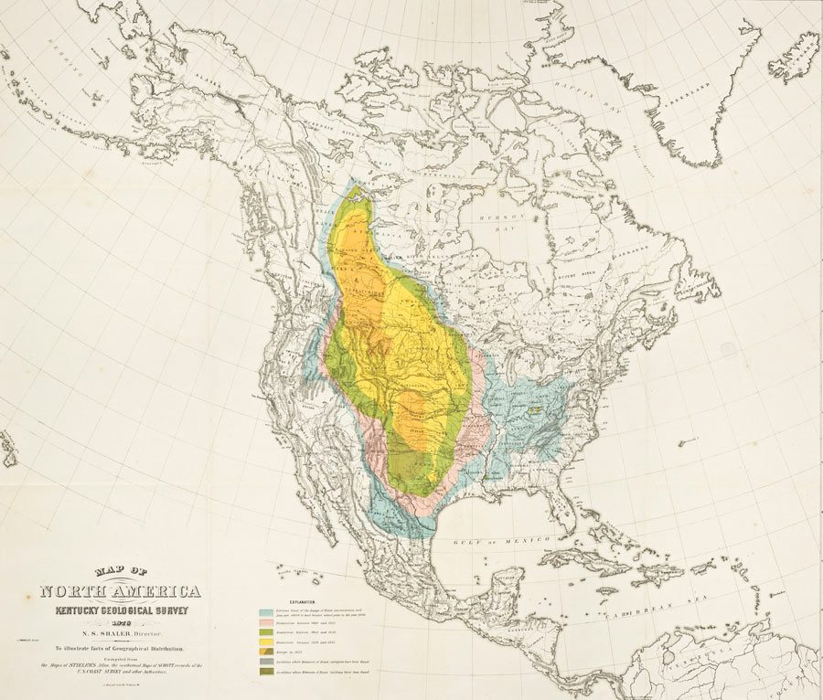 Historical map of evolving bison range from 1876.