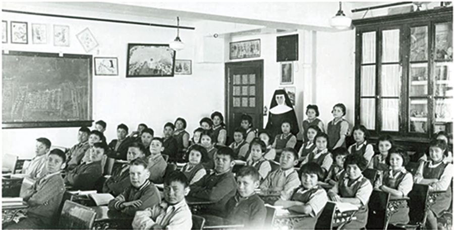 Grades 1, 2 and 3 students at the school in 1946.