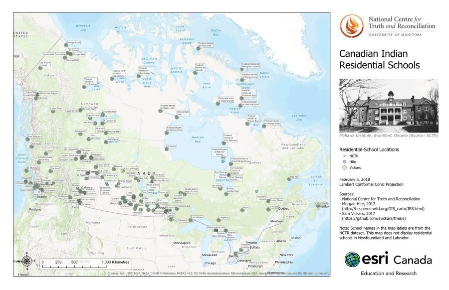 Map showing residential school locations across Canada