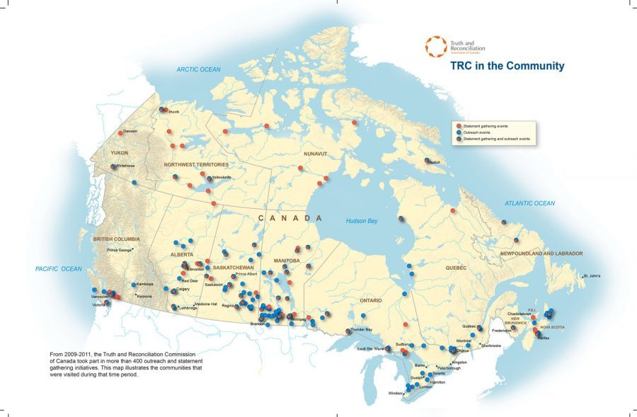 From 2009 to 2011, the Truth and Reconciliation Commission took part in more than 400 outreach and statement gathering initiatives. This map illustrates the communities that were visited during that period.