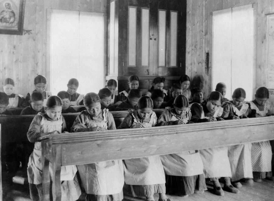 Students studying at Fort Resolution residential school, Northwest Territories.