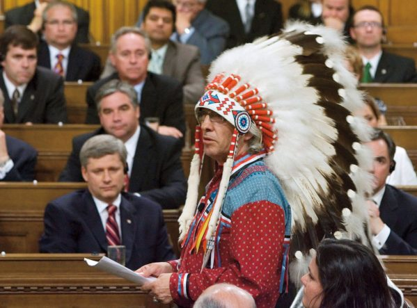 The Assembly of First Nations Chief Phil Fontaine addresses the House of Commons on June 11, 2008, the day the federal government apologized for residential schools.