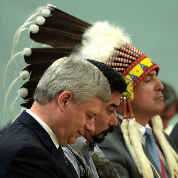 Prime Minister Stephen Harper, Inuit Tapiriit Kanatami president Terry Audla (middle), and Assembly of First Nations Chief Perry Bellegarde at the closing ceremony of the Truth and Reconciliation Commission, on June 3, 2015.