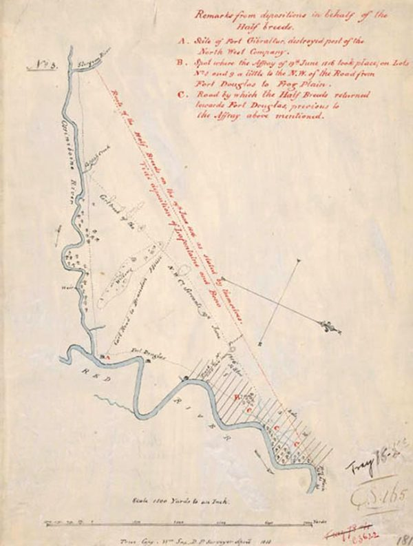 Map of the Battle of Seven Oaks area from 1818.
