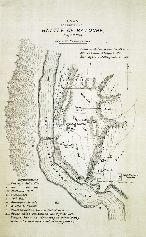 Plan of position at the Battle of Batoche from The Canadian Pictorial & Illustrated War News .
