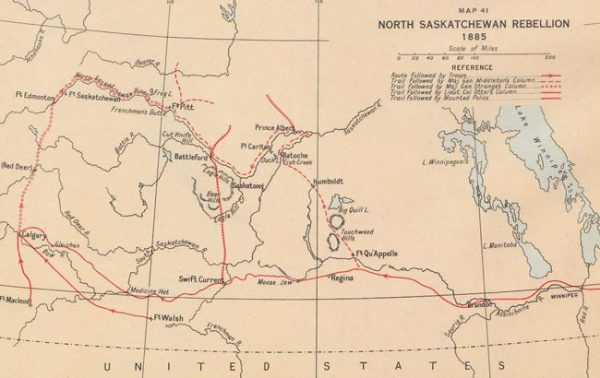 Map of the North Saskatchewan Rebellion area from 1885.