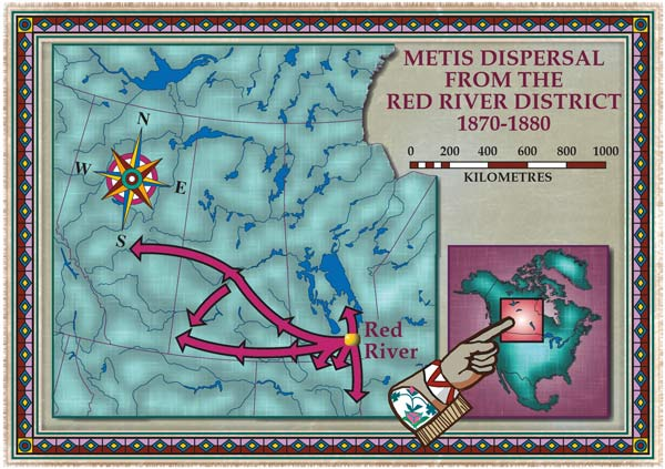 A map detailing the Metis dispersal from the Red River District