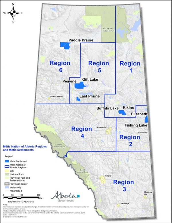 Government of Alberta map showing Métis Nation of Alberta regional zones.