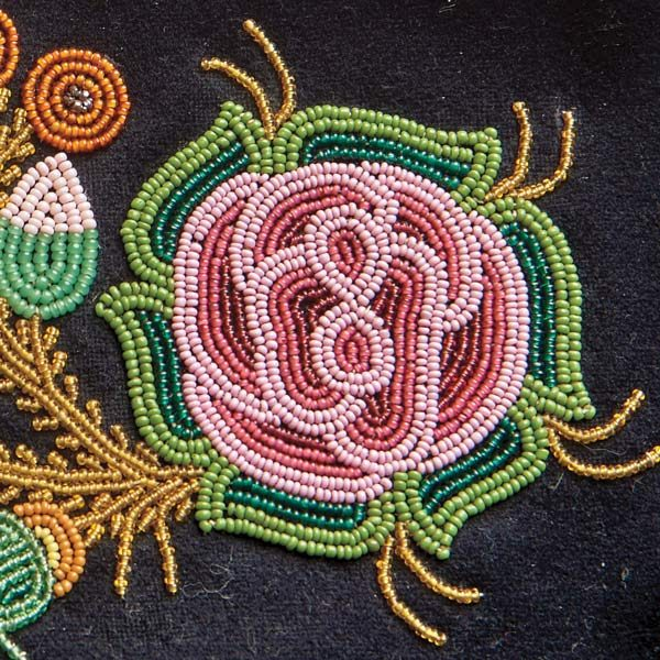 Close-up of traditional Métis beadwork.