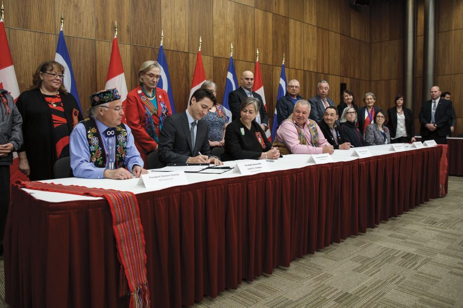 Prime Minister Justin Trudeau and Métis Nation President Clément Chartier meet in Ottawa in April 2017, when the Canada-Métis Nation Accord was signed.