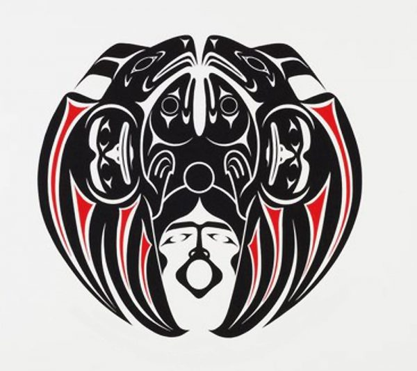 Black and red Indigenous illustration with Salmon heads