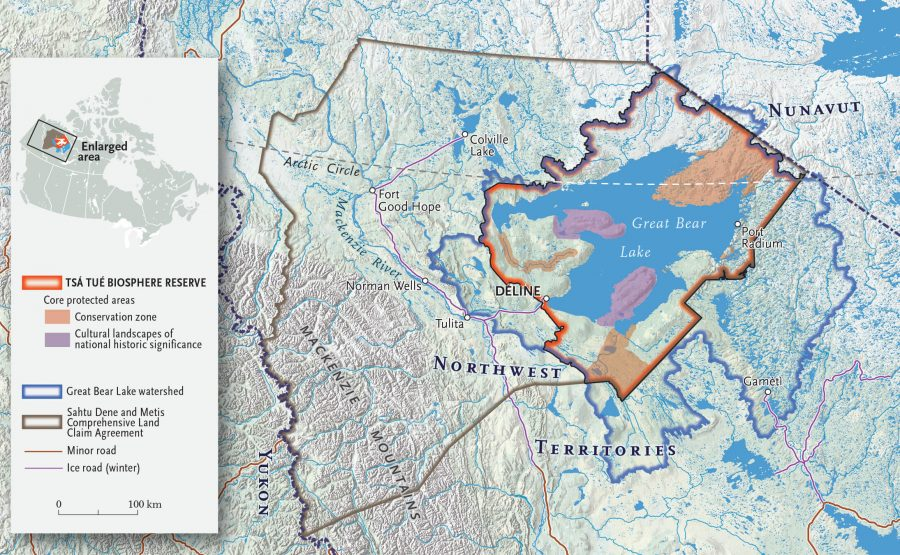 Illustrated map of area around Great Bear Lake with reserve and watershed highlighted