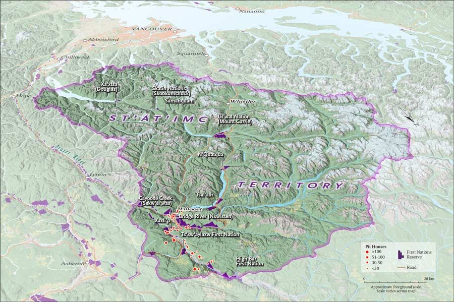 A map of the St'át'imc Territory in present-day B.C.