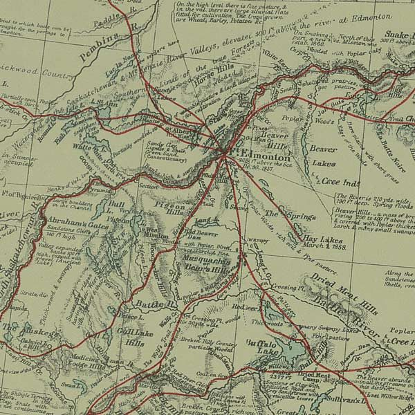 "Irish geographer John Palliser's 1865 map of Western Canada that includes the name ""Musquachis."" The Alberta town Hobbema reverted to this name in 2014."